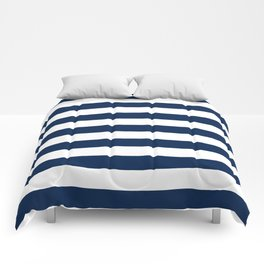 Slate Blue and White Stripes  - Navy Nautical Pattern Comforters