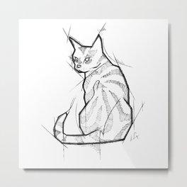 Cat Handmade Drawing, Made in pencil and ink, Tattoo Sketch, Tattoo Flash, Blackwork Metal Print