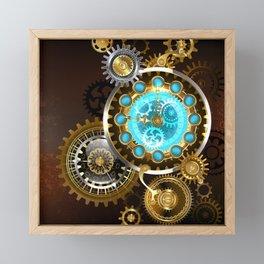 Unusual Clock with Gears ( Steampunk ) Framed Mini Art Print