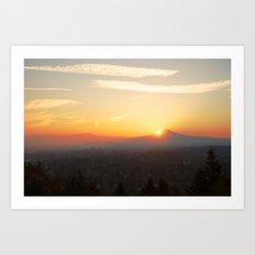 Autumn Sunrise Over Portland Art Print