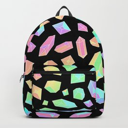 Rainbow Crystal Pattern on Black Backpack