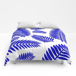 Blue Leaves Ferns Pattern Comforters