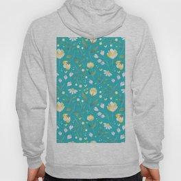 Colourscape Summer Floral Pattern Turquoise Lemon Hoody
