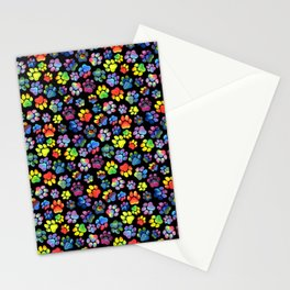 Rainbow Paw Print Watercolor Pattern Stationery Cards