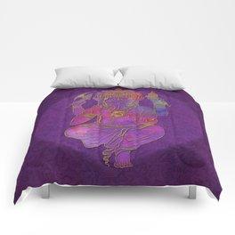 Ganesha hindu god watercolor gold purple art Comforters