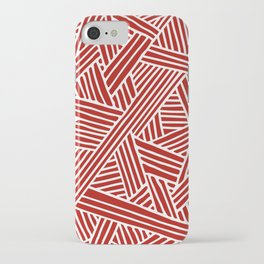 Abstract Navy Red & White Lines and Triangles Pattern iPhone Case