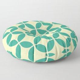 Mid Century Green Floral Floor Pillow