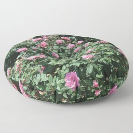 Pink Mini Roses and Eucalyptus Mint Green Leaves Floor Pillow
