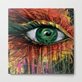 Thread- Paint Spatter Eye Portrait  Metal Print