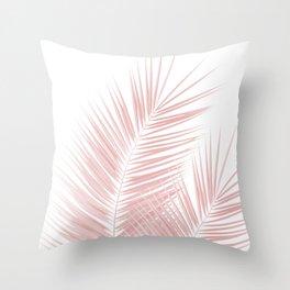Blush Pink Palm Leaves Dream - Cali Summer Vibes #1 #tropical #decor #art #society6 Throw Pillow