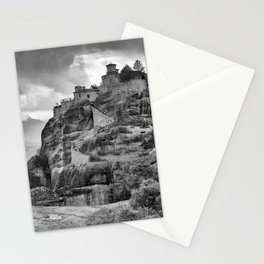 One of the famous Meteora Monasteries, Greece. Black and white image. Stationery Cards