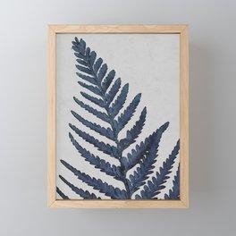 Botanical Indigo Navy Blue Vintage Leaf Fern, Watercolor Wall Art Farmhouse Rustic Country Nature Framed Mini Art Print