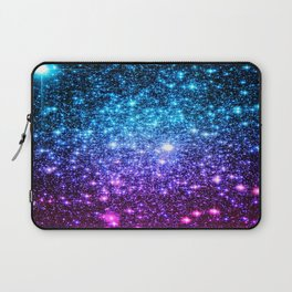 Glitter Galaxy Stars : Turquoise Blue Purple Hot Pink Ombre Laptop Sleeve