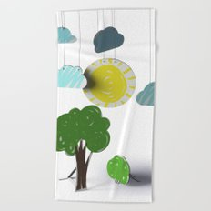 Sunny Day 3D Paper Craft Beach Towel