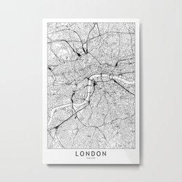 London White Map Metal Print