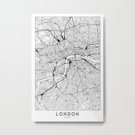London White Map Metal Print