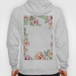 Pink Floral Art Border Painting Hoody