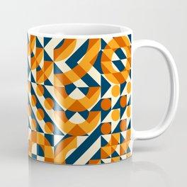 Orange Navy Color Overlay Irregular Geometric Blocks Square Quilt Pattern Coffee Mug
