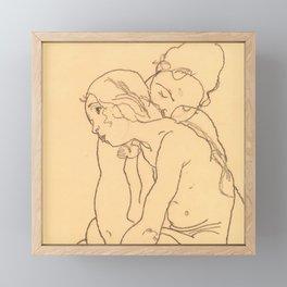 """Egon Schiele """"Woman and Girl Embracing"""" Framed Mini Art Print"""