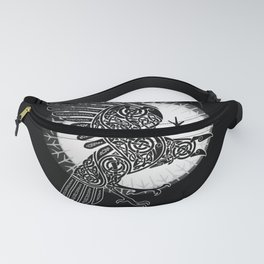 Viking raven of Death - White Fanny Pack