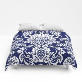 damask in white and blue Comforters