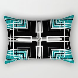 Teal Black and White Line Abstract Rectangular Pillow