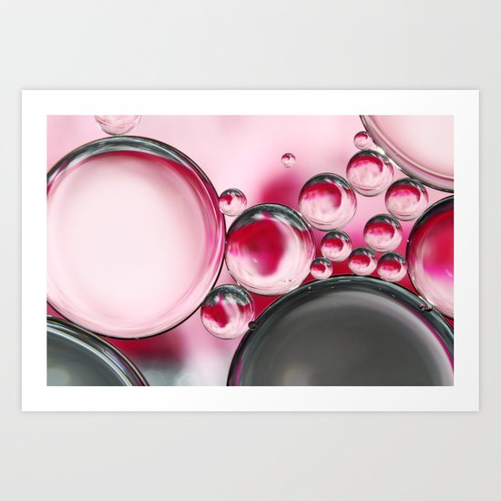 Rose & Grey Bubble Abstract Art Print