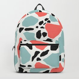Living Coral and Light Blue Terrazzo Backpack