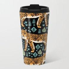 Tiger forest tropical tigers screen print art by andrea lauren Metal Travel Mug