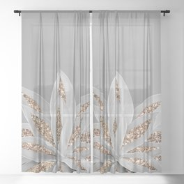 Gray Agave with Gold Glitter #1 #shiny #tropical #decor #art #society6 Sheer Curtain