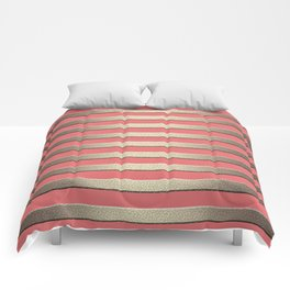 Striped Golden coral Comforters