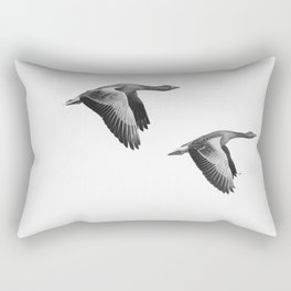 A Pair of Wild Geese Flying Together Synchronized Rectangular Pillow