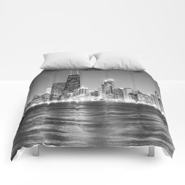Chicago Skyline Black and White Comforters