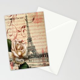 vintage chandelier white rose music notes Paris eiffel tower Stationery Cards