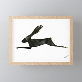 Leaping Rabbit Collage, Black Onyx & Feathers Framed Mini Art Print