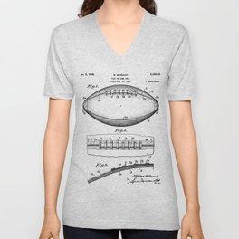 Football Patent - American Football Art - Black And White Unisex V-Neck