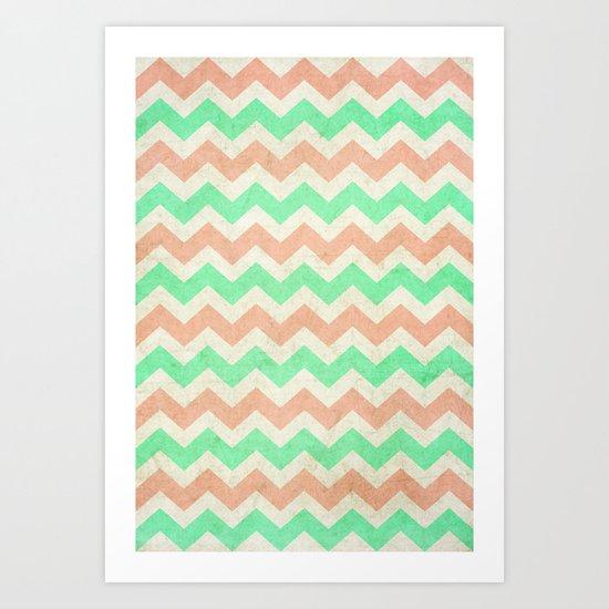coral mint chevron Art Print