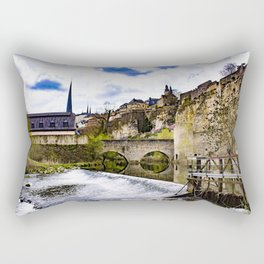 Blue Skies and the Alzette River with Waterfall at the Bock Casemates Ruins in Luxembourg Rectangular Pillow