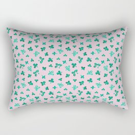 Watercolor Clover on Pink Rectangular Pillow