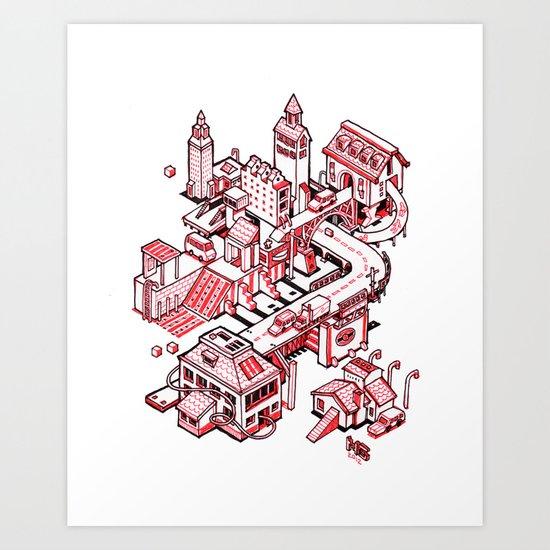 Small City - Red Art Print