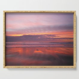 PURPLE AND ROSE GOLD SUNSET SANDYMOUTH BEACH CORNWALL Serving Tray