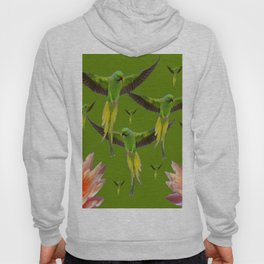FLOCK OF GREEN FLYING FAIRY BIRDS  & PEACH FLOWERS ART Hoody