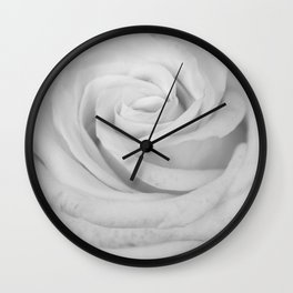 Single white rose close up Wall Clock