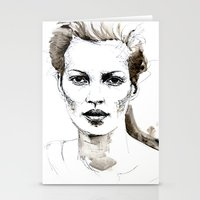 kate moss Stationery Cards featuring Kate Moss by Anastasia Efthias