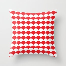 Red Fan Shell Pattern Throw Pillow