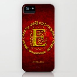 Joshua 24:15 - (Gold on Red) Monogram E iPhone Case