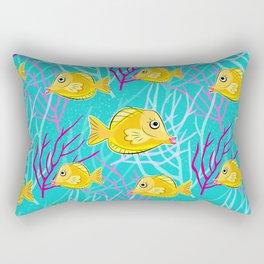Yellow Tang in Coral Sea Rectangular Pillow