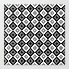 Gray White and Black Diamonds Canvas Print