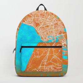 Le Havre, France, Gold, Blue, City, Map Backpack