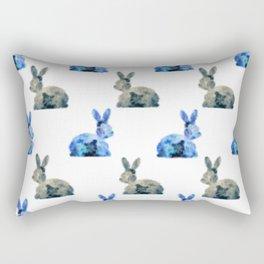 Floral Bunny - white Rectangular Pillow